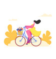 young woman character riding bicycle with flowers vector image