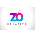 zo z o letter logo with shattered broken blue vector image vector image