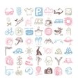 49 hand drawing doodle different icon set about vector image vector image