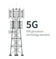 5g technology mast base stations white background