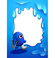 A border design with an injured blue monster vector image vector image