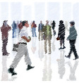 a crowd scribble people going into city vector image vector image