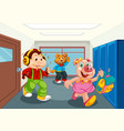 animal student at school hallway vector image vector image