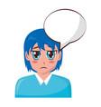 anime girl talk speech bubble vector image