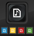 Audio MP3 file icon symbol Set of five colorful vector image vector image