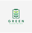 battery leaf electric nature energy logo icon vector image