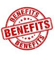 benefits red grunge round vintage rubber stamp vector image vector image