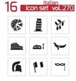 black italian icons set vector image