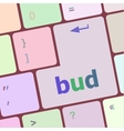 button with bud word on computer keyboard keys vector image vector image