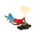 cartoon woman lying on floor with speech bubble vector image vector image