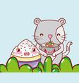 cat and japan food kawaii vector image