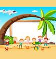 children at beach frame vector image