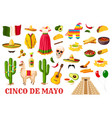 cinco de mayo traditional mexican holiday symbols vector image