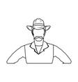 cowboy man cartoon character modern western vector image