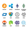 cryptocurrency bitcoin litecoin ethereum vector image vector image