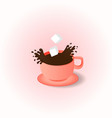 cup and saucer coffee spray spray the coffee vector image vector image
