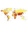 detailed worldmap yellow vector image vector image