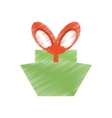 drawing green gift box red big bow vector image vector image
