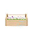 easter eggs for decoration in wooden box vector image vector image