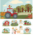 farm with big orchard red tractor and small vector image