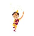 flat cartoon boy kid dancing isolated vector image vector image