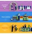 Florist shop service flat banners set vector image