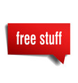 free stuff red 3d speech bubble vector image vector image