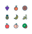 fruit line icons set fill outline style vector image vector image