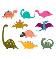 funny cartoon dinosaurs collection vector image