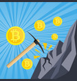 golden coin with computer chip and pickaxe vector image vector image