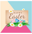 happy easter eggs flower colorful background vector image