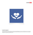 heart in hand icon - blue photo frame vector image