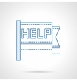 Help pennon blue flat line icon vector image vector image