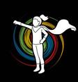 little girl super hero action cartoon graphic vector image