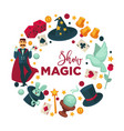 magic show promotional round logotype with vector image vector image