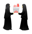 muslim woman sisters give a gift to each other vector image
