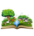 open book with animal farm playing in the park vector image vector image