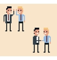 pixel art two businessman hi vector image
