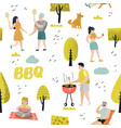 seamless pattern with people on bbq party vector image vector image