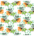 seamless pattern with tiger heads and vector image vector image