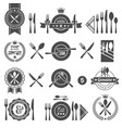 set cutlery icon black silhouette fork knife vector image
