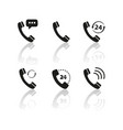 set of handset of icons with reflection vector image vector image