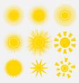 set of simple yellow orange sun vector image vector image
