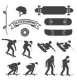 set of skateboard and skateboarders icon vector image