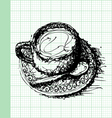 sketch drawing of coffee on graph paper vector image vector image