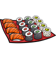 sushi lunch cartoon vector image vector image