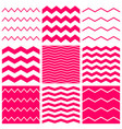 tile pattern set with white and pink zig zag vector image vector image