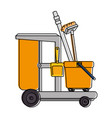 toilet trolley with broom and dustpan vector image