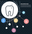 tooth icon with the background to the point and vector image vector image