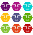 trophy icons set 9 vector image